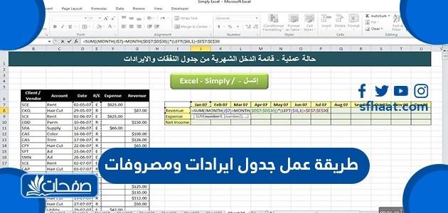 طريقة عمل جدول إيرادات ومصروفات